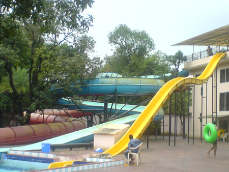 The water slides area at the resort