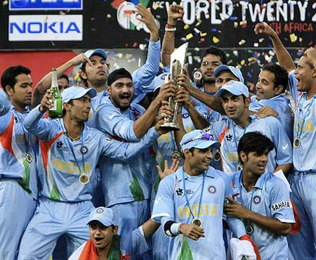 Team India winning the 20-20 World Cup in South Africa